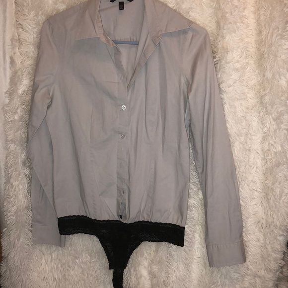 d034f0d55dcaf VICTORIA'S SECRET Gray Button Up Thong Bodysuit